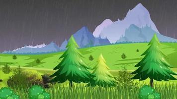 noche lluviosa en la llanura cerca de las montañas video
