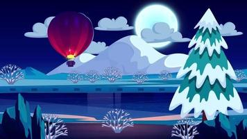Full Moon And Balloon Is Flying At Midnight video
