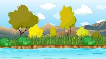 río ondulado cerca de la llanura verde y las montañas video