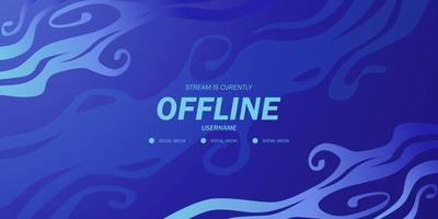 abstract blue wave flow liquid water ocean background for offline stream game twitch live video gaming vector