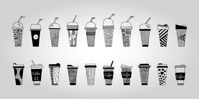 Collection of hand drawn glasses and hot and cold drinks with various patterns vector Illustration