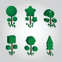 Vector illustration gradient three dimensional tree collection