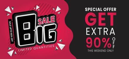 Big sale special up to 90 off Sale banner template design vector illustration