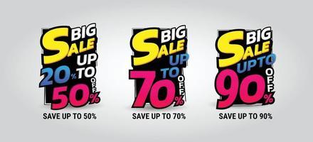 Big sale 3 sets upto 20 to 90 Vector illustration