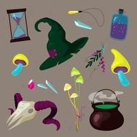 Witchcraft Set of witch utensils ingredients in colorful cartoon style vector