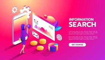 Information Search. Web analysis. business woman interacts with parts of the interface. Women studies and analyzes the mobile web application interface vector