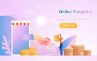 E-commerce or online shopping concept with hands reaching out of a computer screen holding a shopping product. vector