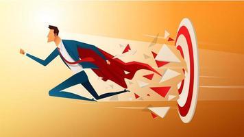 super empresario corriendo y rompiendo el objetivo de tiro con arco para el éxito. concepto de negocio de meta y éxito. vector