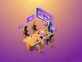 People interacting with graphs and papers while having digital meeting. Workflow and business management. 3D vector isometric illustration.