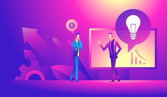 Business idea, partners, together, teamwork concept. Business partners discussing project concept. vector