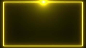 borda de néon dourada com reflexo no fundo superior video