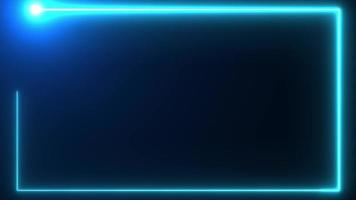 Blue neon border background wit flare head video