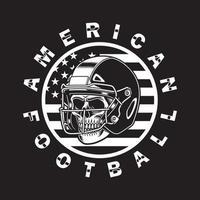 American Football Skull With Helmet On Black vector