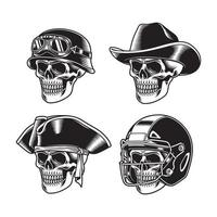 Colección de personajes de calaveras en blanco y negro. vector