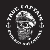 Bearded Sea Captain Skull With Smoking Pipe On Black vector