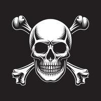 Skull and Crossbones On Black vector