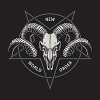 Ram Skull With Pentagram On Black vector