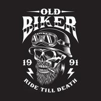 Vintage Bearded Biker Skull Smoking Cigar vector