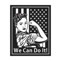 Vintage We Can Do It Poster In Black And White vector