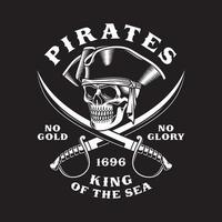 Pirate Skull With Crossed Swords On Black vector