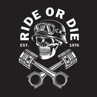 Vintage Biker Skull With Crossed Pistons On Black vector