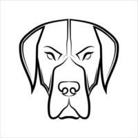 great dane dog head front line art3 vector