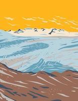 Campo de hielo endurecido cerca del glaciar de salida de las montañas de kenai en el parque nacional de los fiordos de kenai ubicado en la península de kenai en alaska wpa poster art vector