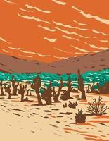 dunas de arena de turkey flats ubicadas en el parque nacional joshua tree en california wpa poster art vector