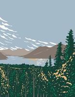 Skilak Lake on the Kenai Peninsula Fed by Meltwater from Skilak Glacier Located in Kenai Fjords National Park in Alaska WPA Poster Art vector