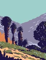 palmeras de abanico de california en oasis de primavera de chopo ubicado en el parque nacional joshua tree en california wpa poster art vector