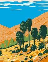 Fortynine Palms Oasis un sendero de ida y vuelta en un cañón rocoso ubicado en el Parque Nacional Joshua Tree, California vector