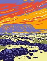Amboy Crater Extinct Cinder Cone Volcano in Mojave Desert Within Mojave Trails National Monument California WPA Poster Art vector