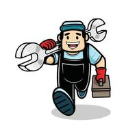 Plumber man with tool and box of equipment vector