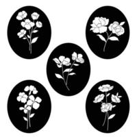 hand drawn botanical flower silhouettes on black ovals vector