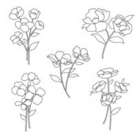 hand drawn botanical flowers black outline vector