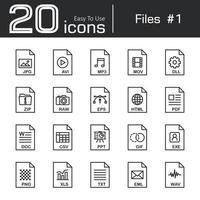 Files icon set 1  jpg  avi  mp3  mov  dll  zip  raw  eps  html  pdf  doc  csv  ppt  gif  exe  png  xls  txt  eml  wav vector
