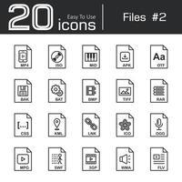 Files icon set 2  mp4  iso  mid  apk  otf  bak  bat  bmp  tif  rar  css  kml  ink  ico  ogg  mpg  swf  3gp  wma  flv vector
