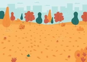 Autumn park flat color vector illustration