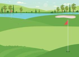 Ilustración de vector de color plano de campo de golf