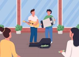 Street musicians flat color vector illustration