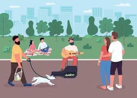 Guitarist on street flat color vector illustration