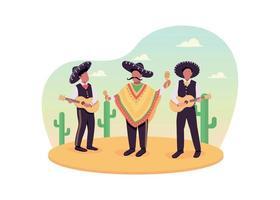 Mexican musicians 2D vector web banner