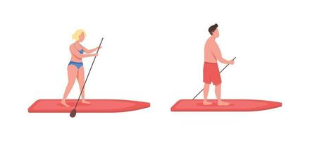 Standup paddleboarding flat color vector faceless character set