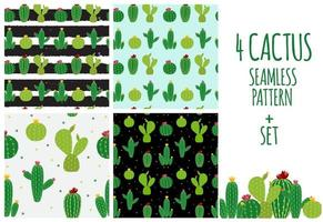 Cactus Icon Collection Seamless Pattern vector