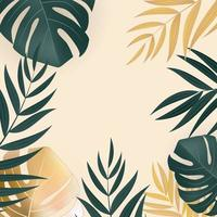 Natural Realistic Green and Gold Palm Leaf Tropical Background vector