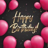 Fondo de banner de globos de feliz cumpleaños brillante de color vector