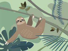 Sloth in jungle rainforest vector