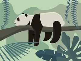 Panda in rainforest vector