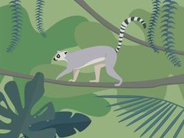 Lemur in rainforest vector