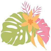 Tropical set with leave and flamingo vector